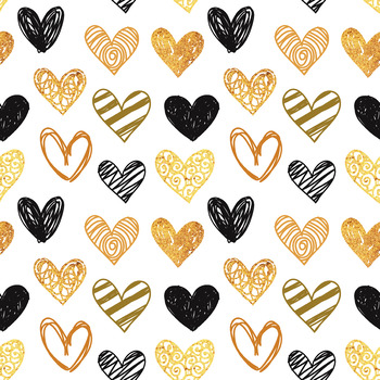 12x12 Digital Paper Set: Gold and Black Hearts