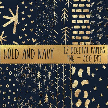 12x12 Digital Paper Set: Gold and Navy Collection