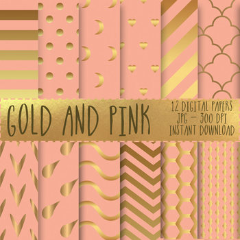 12x12 Digital Paper Set: Gold and Pink Collection