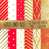 12x12 Digital Paper Set: Gold and Red Collection
