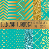 12x12 Digital Paper Set: Gold and Turquoise