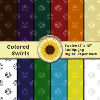 12 12x12 Digital Paper Set: Colored Swirls; Scrapbooking, Backgrounds, Swirls