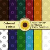 12 12x12 Digital Paper Set: Colored Swirls; Scrapbooking,