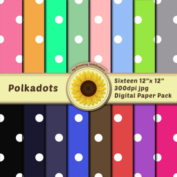 16 12x12 Digital Paper Set: Polkadots; Scrapbooking, Backgrounds, Polkadots