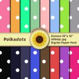 16 12x12 Digital Paper Set: Polkadots; Scrapbooking, Backg