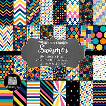 12x12 Digital Paper - Multi-Color Collection: Summer