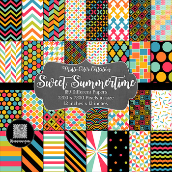12x12 Digital Paper - Multi-Color Collection: Sweet Summertime