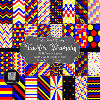 12x12 Digital Paper - Tricolor Primary Collection (600dpi)