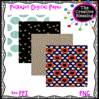 12x12 Polka Dot Digital Paper Backgrounds