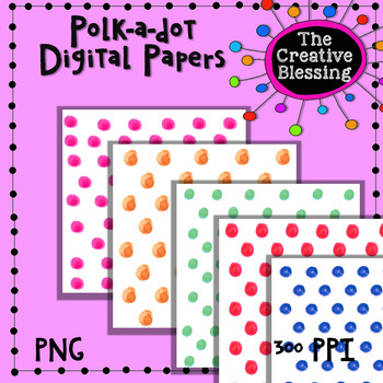12x12 Polka-dot Digital Papers,  Watercolor Backgrounds