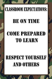 """12""""x18"""" Classroom Expectations Poster - Camo Background"""