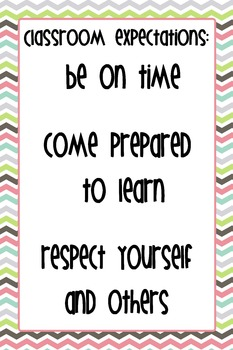 """12""""x18"""" Classroom Expectations Poster - Chevron Background"""