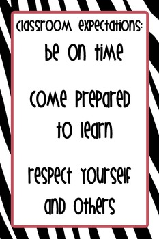 """12""""x18"""" Classroom Expectations Poster - Zebra Background"""