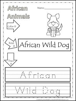 13 African Animal themed printable preschool worksheets.  Color, Read, Trace wor