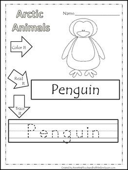 13 arctic animal themed printable preschool worksheets color read trace wor. Black Bedroom Furniture Sets. Home Design Ideas