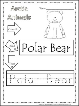 13 Arctic Animal themed printable preschool worksheets.  Color, Read, Trace wor