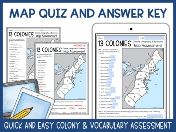 13 Colonies Close Read and Map Activity (Climate, Geography, and Economy)