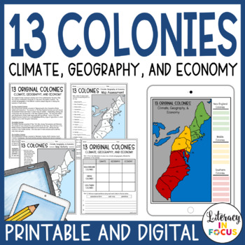 13 Colonies Map and Activities (Printable and Digital) by Literacy on