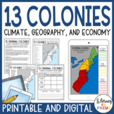 13 Colonies Text, Map Lesson, and Quiz (Digital and PDF Versions)