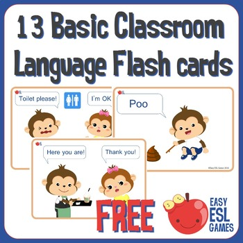 13 Basic Classroom Language Cards. For Preschool, Kindergarten and ESL/EFL Class