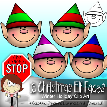 Christmas Elf Faces - 13 Winter Holiday Clipart Images {The Teacher Stop}