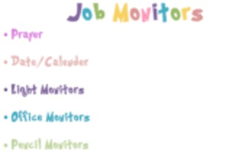 13 Classroom Jobs/Montiors- Rainbow colours and Dr. Seuss style font