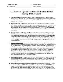 13 Classroom Tips for Teachers with Students who are Deaf