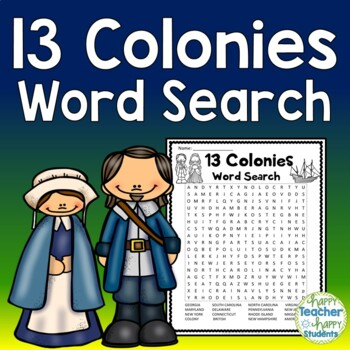 13 Colonies Word Search Activity