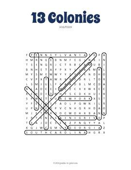 Original 13 Colonies Word Search Puzzle