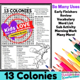 13 Colonies Activity: 13 Colonies Word Search