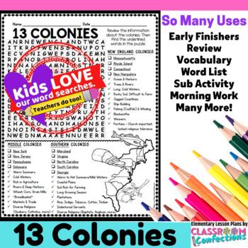13 Colonies Activity: 13 Colonies Word Search