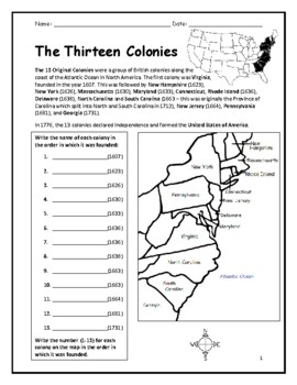 photograph regarding Printable 13 Colonies Map identified as 13 Colonies - Printable handout with map