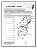 13 Colonies - Printable handout with map