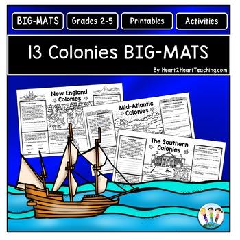 13 Colonies Activities: BIG-MATS are FUN in a BIG Way! {11x17}