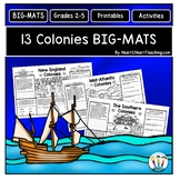 13 Colonies Activities: BIG-MATS are FUN in a BIG Way! {11x17}
