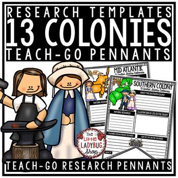 13 Colonies Activities Templates & Rubric • Teach- Go Pennants™