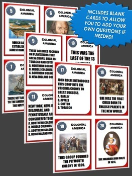 13 Colonies (American Colonies) - 36 Task Cards for the 13 Colonies