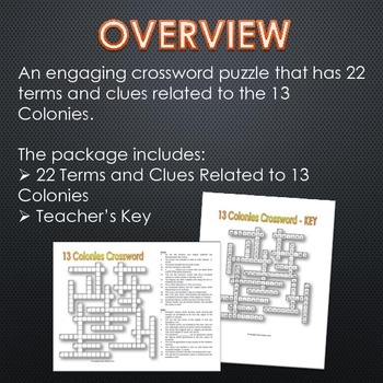 13 Colonies (American Colonies) - Crossword Puzzle and Key (22 Terms and Clues)