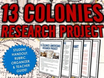13 Colonies (American Colonies) - Research Project with Ru