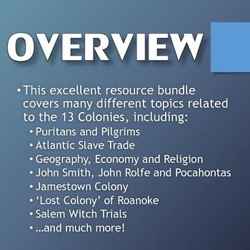 13 Colonies (American Colonies) - Resource Bundle (Projects, Webquests, etc.)