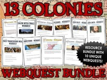 13 Colonies (American Colonies) - Webquest Bundle / Centers Activity