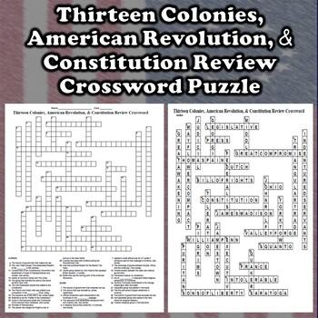 13 Colonies, American Revolution, & Constitution Crossword Review