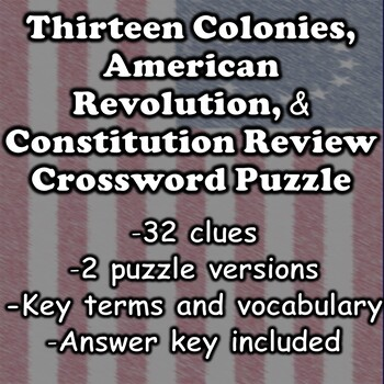 13 Colonies, American Revolution, & Constitution Crossword Review