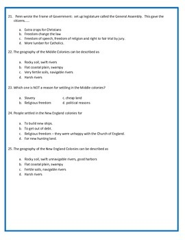 13 Colonies Assessment  -4th Grade Social Studies