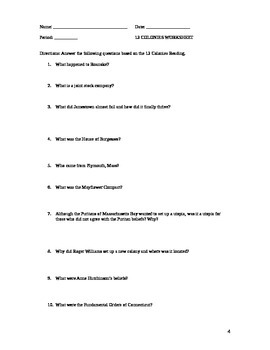 Colonization: 13 colonies Beginnings Reading and Questions
