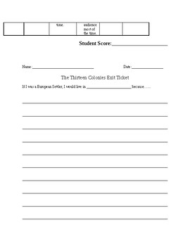 13 Colonies Brochure and Rubric and Exit Ticket