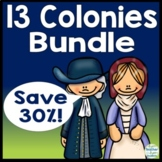 13 Colonies Bundle: Graphic Organizer, Writing, Map Test & Word Search (30% Off)