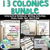 13 Colonies Bundle Interactive Notebook, Writing Activities, Tests