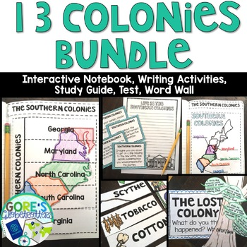13 Colonies Bundle Interactive Notebook, Writing Activities, Tests