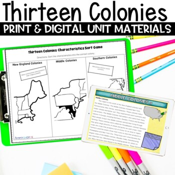 Thirteen Colonies Unit Plan of Nonfiction Reading, Writing, Games and Project